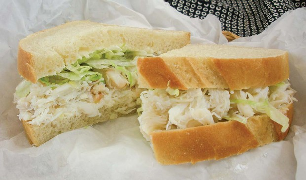 The purist's crab sandwich at Myrtle Avenue Market.