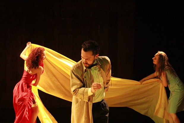 Kathryn Cesarz, Alfredo Romero, and Melanie Schauwecker in The Yellow Wallpaper (Adaptation Project 2018) Photo by Tushar Mathew