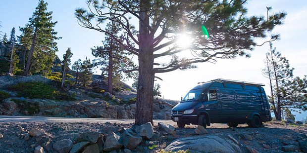 Travis Wild's van parked near Donner Lake.