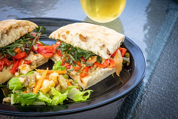 The grilled vegetable sandwich on focaccia.