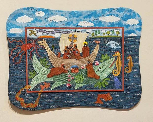"Lida Penkova's ""Landing on Jasconius,"" 2013-19. Hand-painted linocut on plywood."