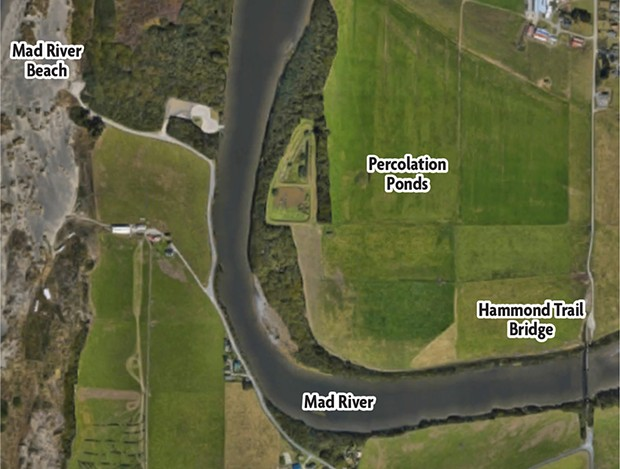 A Google Maps aerial image of the Mad River and the McKinleyville Community Services District's current percolation ponds.