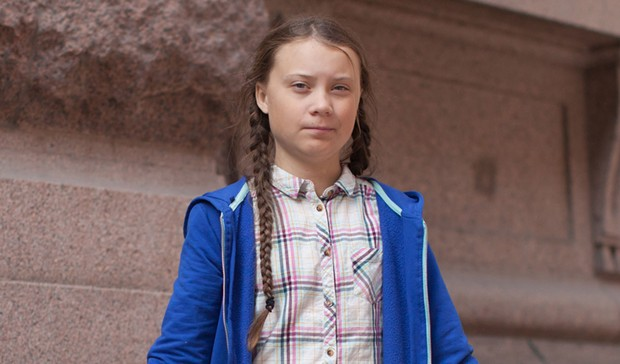 Greta Thunberg, outside the Swedish parliament.