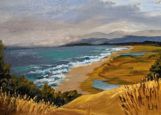 Plein air painting by Lynn Niekrasz at Redwood Art Association.