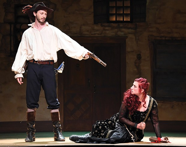 Jesse March as Athos and Melo Rhae as Milady at Ferndale Repertory Theatre.