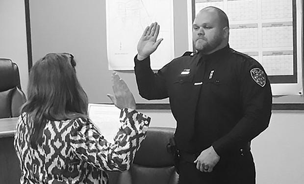 Jacob Jones is sworn in as a Willits police officer June 12.