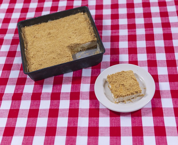 Frozen cheesecake in the author's mother's baking pan.