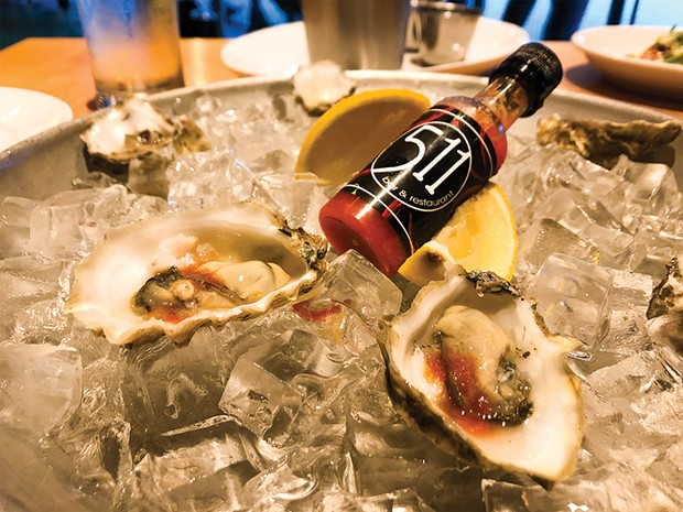 Oysters and housemade hot sauce.