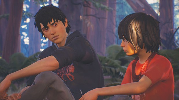 Sean and Daniel under the big trees in Life is Strange 2.