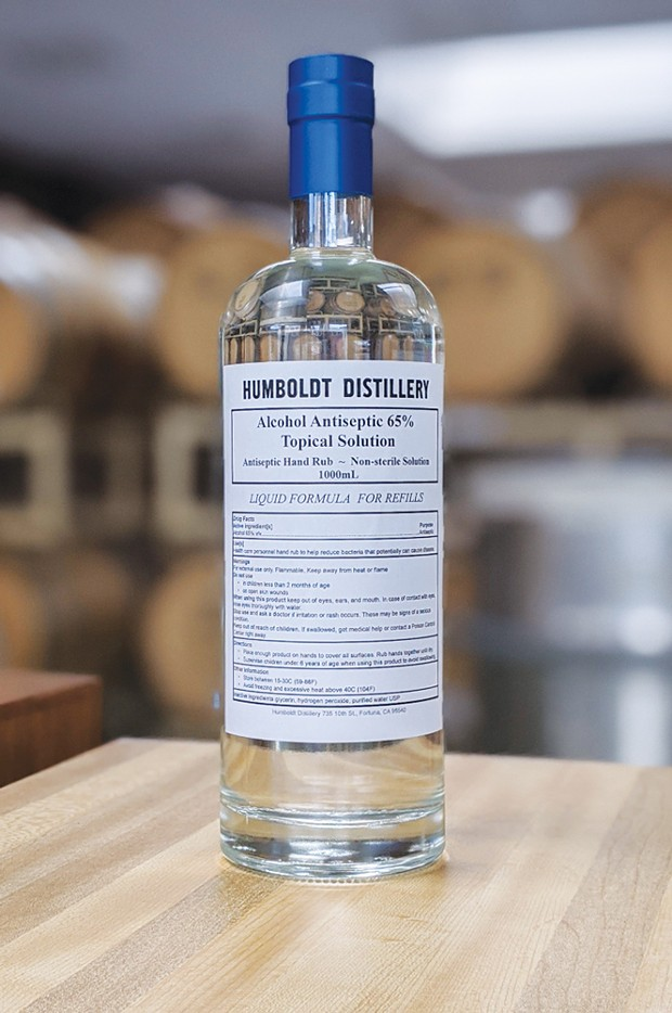 Humboldt Distillery's hand sanitizer donated in repurposed vodka bottles.