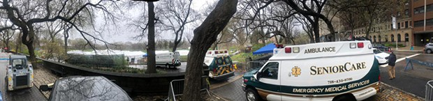 A makeshift tent intensive care unit in Central Park.