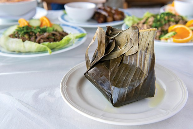 Mok khai, a banana leaf stuffed with fragrant seasoned steamed ground chicken and noodles is one of the traditional Lao dishes on the new menu at Hunan Restaurant.
