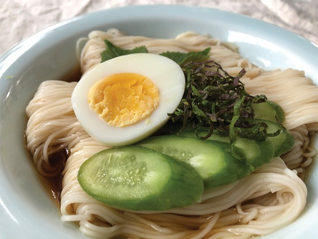 Shiso-topped somen noodles.