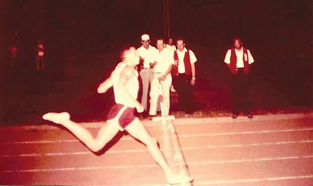 Bob Talmadge outrunning college athletes in Redding in 1965, just after graduating high school.