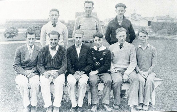 A photo of Leo Gallagher (seated second from right) as an officer of the Boys' League in the 1928 Fortuna Union High SchoolMegaphoneyearbook.