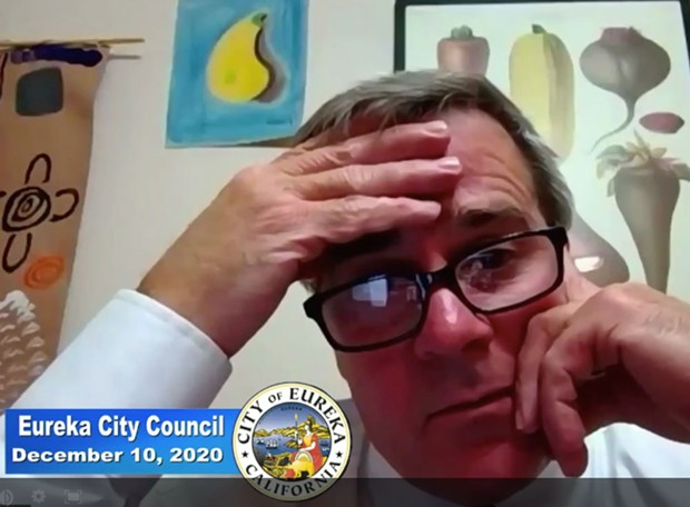 Eureka City Manager Miles Slattery listens to the discussion at the City Council's Dec. 10 meeting.