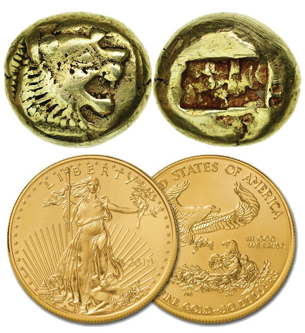 Top: Lydian one-third stater, circa 620 B.C., worth around $3,000 as a collector's item today. Bottom: 2019 U.S. 1-ounce $50 Gold Eagle, worth about $2,000.