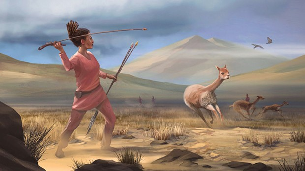 Imaginary scene high in the Andes 9,000 years ago.