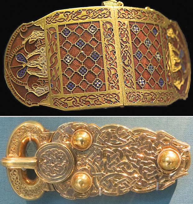 Items from the Sutton Hoo ship burial, now in the British Museum. Top: Gold garnet shoulder clasp encrusted with Sri Lankan garnets (RobRoy/Creative Commons/Wikimedia). Bottom: Gold belt buckle, weighing nearly 1 pound.