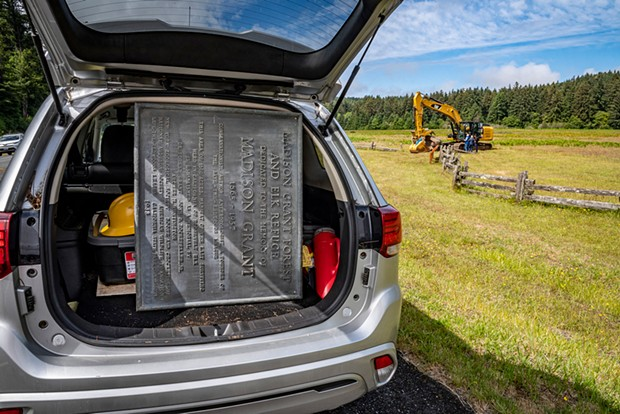 """After the Madison Grant plaque was removed from the stone monument on June 14, it was placed in State Park District Superintendent Victor Bjelajac's vehicle for delivery to storage. The plaque reads: """"Madison Grant Forest and Elk Refuge Dedicated to the Memory of Madison Grant, 1865-1957. Conservationist. Author. Anthropologist. A Founder of the Save-the-Redwoods League. This area of 1600 acres, habitat of the last surviving herd in California of Roosevelt Elk is established as a memorial by De Forest Grant, John D. Rockefeller Jr., Archer M. Huntington, New York Zoological Society, Boone and Crockett Club, National Aududon Society, American Wildlife Foundation, Save-the-Redwoods League, California State Parks Commission. 1948"""""""
