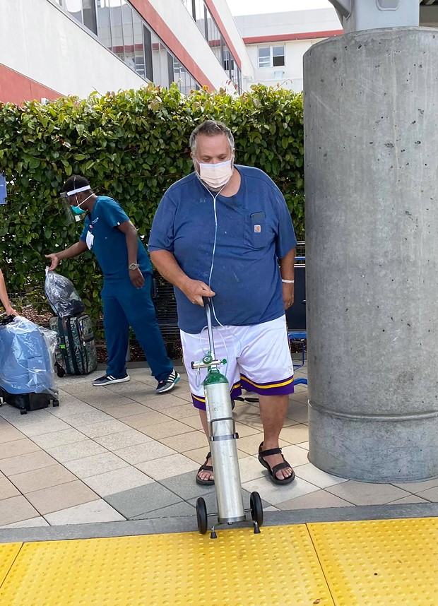 Jonathan Weltsch leaves St. Joseph Hospital on July 26, 19 days after he was admitted with COVID-19.