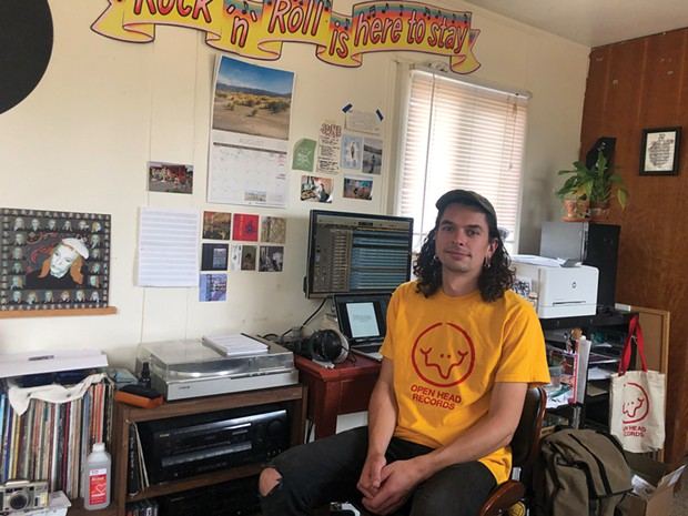 Luke Aronie, founder of Open Head Records in the studio.