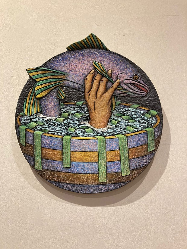 """Louis Marak's """"Handled Fish Bowl,"""" fired ceramic, 2020."""
