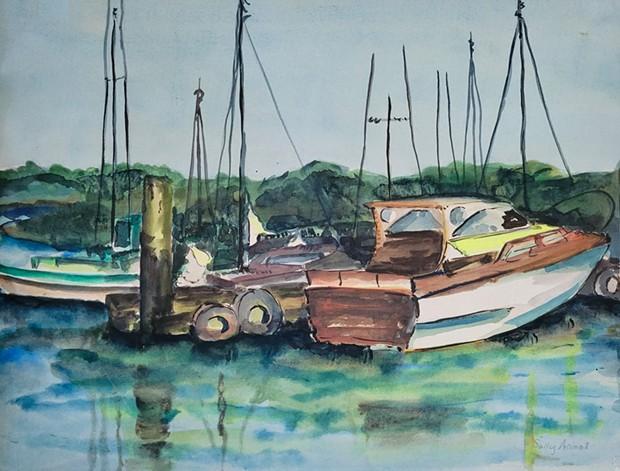 "Sally Arnot's watercolor painting ""Boats at Harbor."
