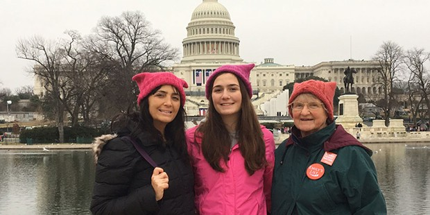 Peri Escarda with her 18-year-old daughter and 80-year-old mother at the Women's March on Washington.