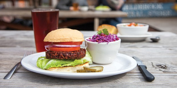 The Red Root veggie burger and asian slaw.