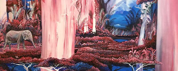 "Nathan Liam's ""Pink Jungle,"" 2018, oil on canvas."