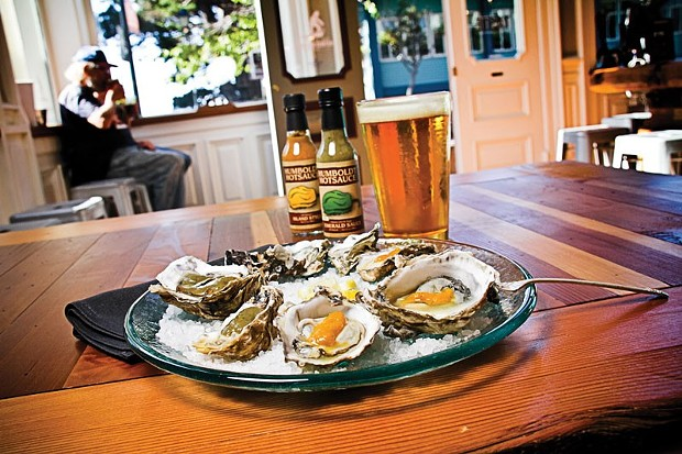 Oysters and hot sauce at Humboldt Bay Tourism Center.