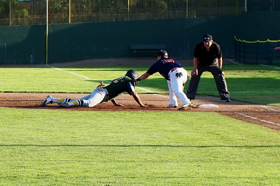 Connor Larsen makes the tag in game 1 - MATT FILAR