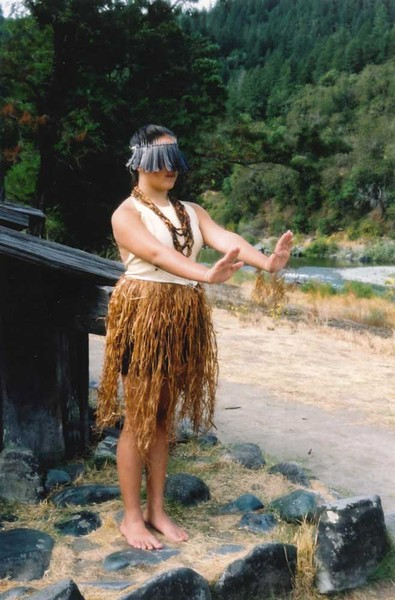 Melitta Jackson in the traditional Steller's jay veil, pine nut necklaces and bark skirt for her Flower Dance ceremony. - PHOTO BY TRISH OAKES, COURTESY OF MELITTA JACKSON AND MARLETTE GRANT-JACKSON