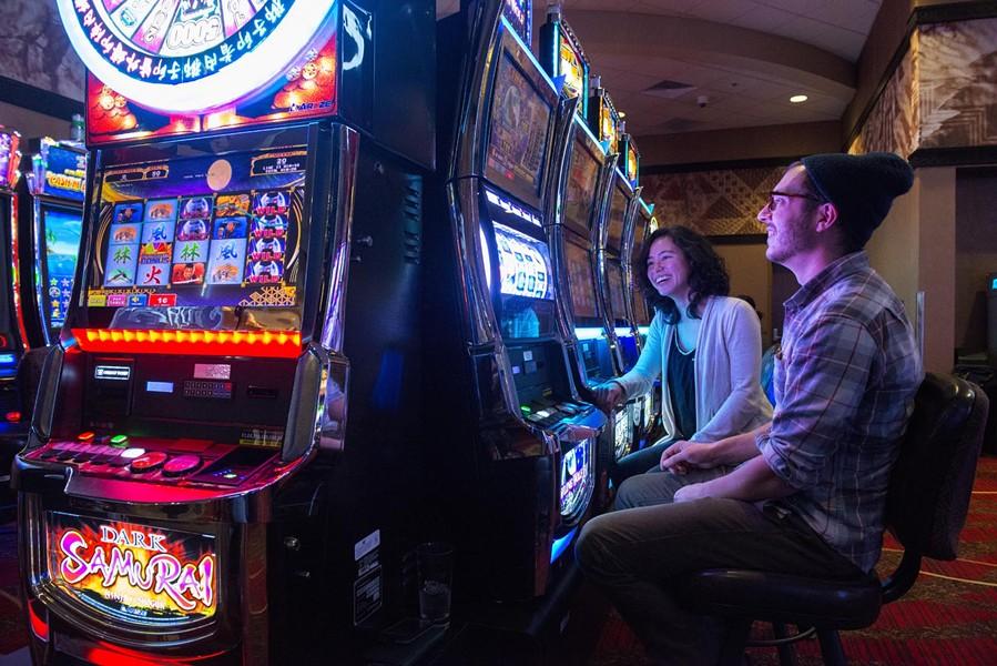 Fresh air and slot machines at Redwood Hotel and Casino. - MARK MCKENNA