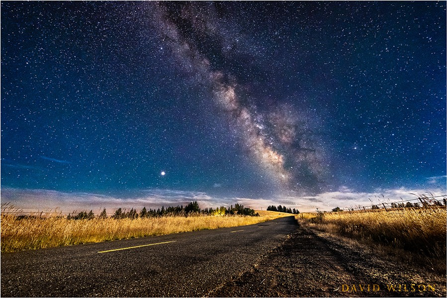 The moonlit Kneeland Road leads straight to the Galactic Core. - DAVID WILSON