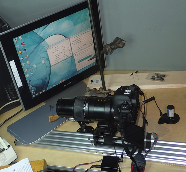 The setup. Canon 6D mk II, MPE 65 1-5X lens, mounted on StackRail controlled by an old spare Windows 7 computer. - PHOTO BY ANTHONY WESTKAMPER