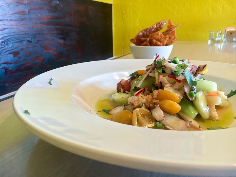 Octopus and aguachile at Fregoso's. - PHOTO BY JENNIFER FUMIKO CAHILL