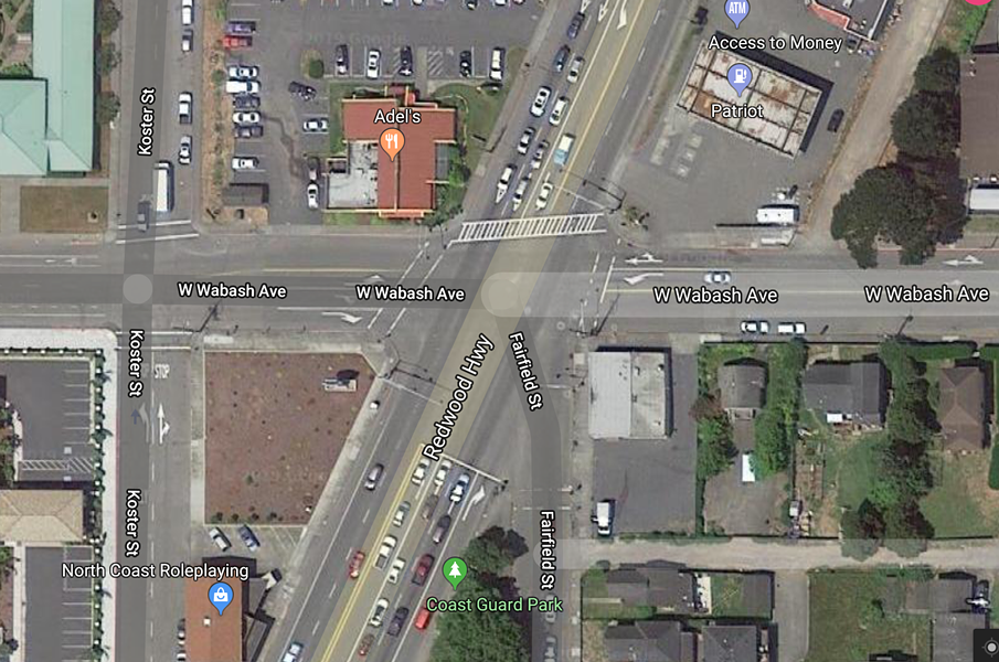 The intersection of Wabash Avenue, U.S. Highway 101 and Fairfield Street. - GOOGLE MAPS