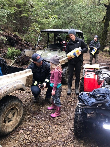 A search and rescue team from the Piercy Volunteer Fire Department was the first to find the girls. Here's a photo from the scene. - FACEBOOK