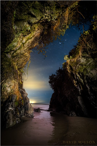Mysteries of the night reveal themselves in the darkness like the secret caves of the mind — if one knows where to look, how to see… - This is a single exposure of a beach cave on the rugged coast of Humboldt County, California. April 9, 2019. - DAVID WILSON