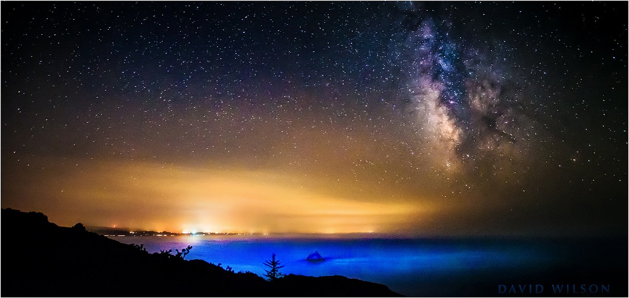 The Milky Way looms over the Pacific Ocean, standing out over the smoky, misty air along California's North Coast. Smoke from inland fires lingered in the sky. August 2015. - DAVID WILSON