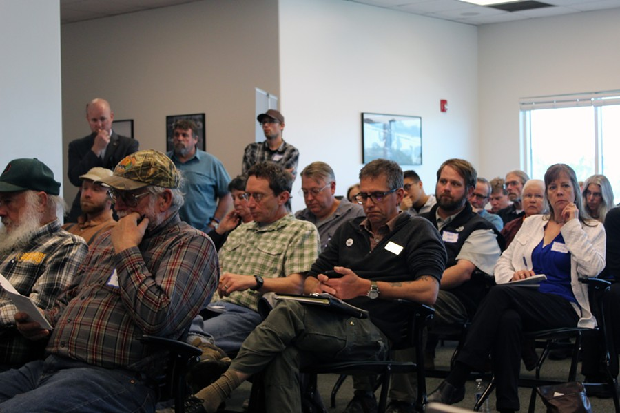 Community members and stakeholders filled the small room at the Humboldt Bay Aquatic Center on Thursday to watch four sets of panel discussions on how offshore wind and its potential impacts to Humboldt County. - NATALYA ESTRADA
