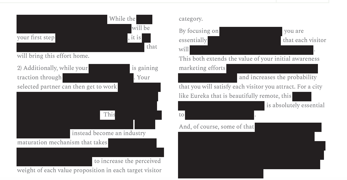 A page of heavily redacted text in the copy of Eddy Alexander's marketing proposal released to the Journal. - SCREENSHOT