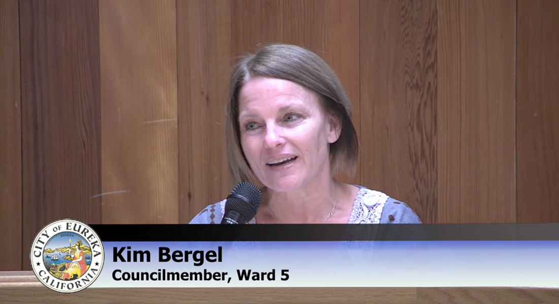 Councilmember Kim Bergel questioning city staff.