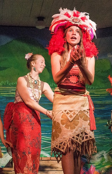 Shekina McCullough as the adventurous island princess Moana and, behind her, teacher's aide Jordan Lambert as the goddess Te Fiti.  - PHOTO BY BETTY ANN HANAUER