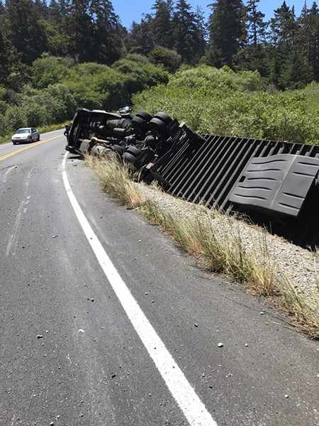 A big rig crashed near Big Lagoon. - CALTRANS