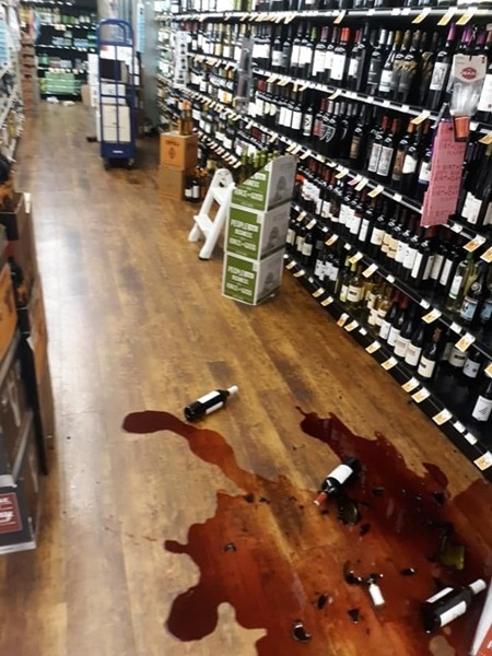 Wine spill in Redway after the quake. - SUBMITTED