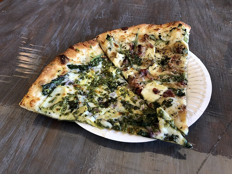 Pizza with pesto and brie in Trinidad. - PHOTO BY JENNIFER FUMIKO CAHILL