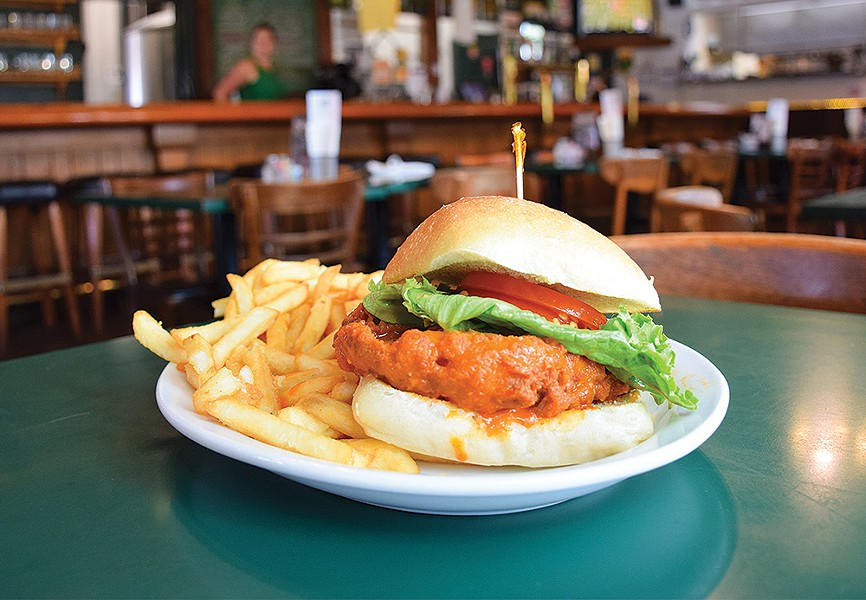 The Buffalo Chicken Sandwich at Eel River Brewing Co. - PHOTO BY JENNIFER FUMIKO CAHILL